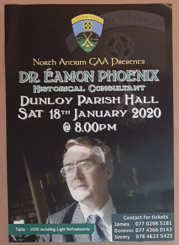 N. Antrim GAA presents Dr. Éamon Phoenix talk in Dunloy